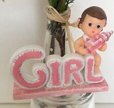 1-Baby Shower Cake Topper Girl Pink Figurines Favors Decorations Recuerdos Niña