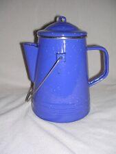 VINTAGE MARLBORO MILES BLUE & WHITE ENAMELWARE CAMPING COFFEE POT