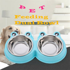 Stainless Steel Puppy Dog Pet Feeder Feeding Food Water Dual Bowl Detachable