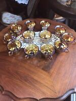 VTG  INDIANA HARVEST GRAPE AMBER Iridescent CARNIVAL GLASS  12 Punch  Cups