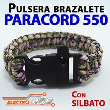 Pulsera Paracord 550 Camuflaje Verde Rosa silbato supervivencia cuerda montaña