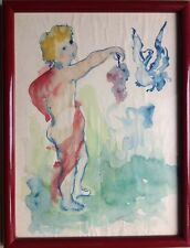 Jean CHARNOTET 1930-1978.Putto à la grappe de raisin.Aquarelle.SBD.21x15.Cadre.