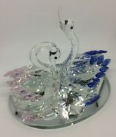 Crystal Glass Swan Pair Pink Blue Love Ornament decoration - Last few Gift Boxed