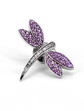 Effy 14k WHITE GOLD Pink Sapphire & Diamond Dragonfly Pin