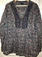 Gap Size Large Blue Floral Blouse -lace front Relaxed Peasant Boho shirt