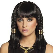 Ladies Girls Black Classic Cleopatra Egypt Queen Fancy Dress Wig with Beads