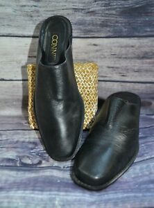 Connie Black Leather Mules Vintage 90's Square Toe Low Heel Western Size 8