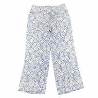 Tommy Bahama Womens Watercolor Tiles Linen Gaucho Pants Tie Waist Size 10