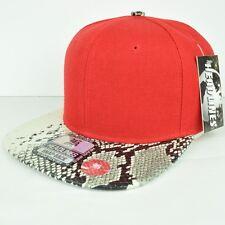 Headlines Red White Faux Snake Skin Adjustable Hat Cap Snapback Flat Bill