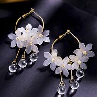 Acrylic Flower Crystal Tassel Dangle Earrings Women Fashion Jewelry Accessories