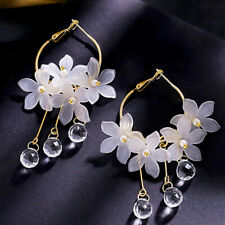 Sweet Acrylic Flower Crystal Tassel Dangle Drop Earrings Women Jewelry Gift