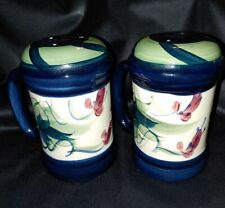 Gail Pittman Pottery GRAPEVINE GREEN Stovetop Salt and Pepper HARD TO FIND