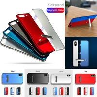 For iPhone 7 8 Plus XS Max Magnetic Absorption Stand Case Cover + Tempered Glass