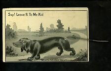 Novelty Add-On vintage postcard dog puppy Dacshund w/ SPRING TAIL Schmidt 1911