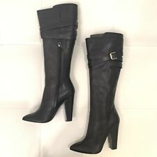 GIUSEPPE ZANOTTI Black Leather Knee High Buckle Boots Sz 40
