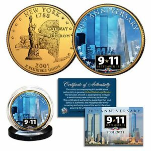 20th ANNIVERSARY 9/11 World Trade Center Official 24K Gold Clad NY Quarter Coin