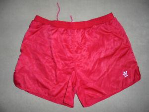 vintage 90s Adidas Sprinter Nylon Glanz shorts 90er sport hose oldschool rot 7 L