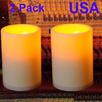 "2x  4.5"" Flicker Flameless LED Pillar Tea Candle Light Party Wedding Birthday"