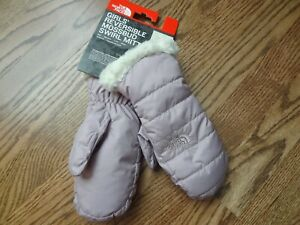 New The North Face Kids Girls Reversible Mossbud Swirl Mitt size M
