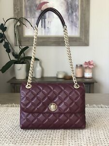 KATE SPADE NATALIA MEDIUM FLAP CROSSBODY SHOULDER CHERRYWOOD LEATHER BAG