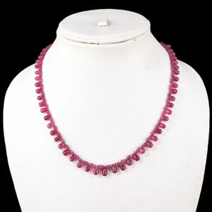"18"" Natural Ruby Designer Necklace Top Quality Beads & Drops 925 Ruby Clasp"