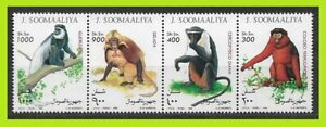 Somalia 1994 Monkeys - Wild Animals - Complet Series Strip Of 4 Stamps - MNH