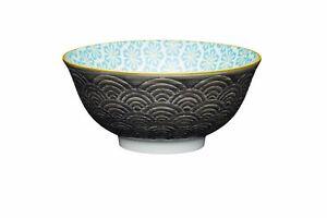 2x Set of 4 KitchenCraft Grey Arched Pattern Ceramic Bowls