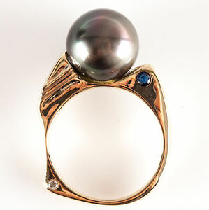 14k Yellow White Gold Round Tahitian Pearl Sapphire Diamond Cocktail Ring .06ctw