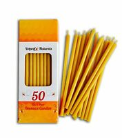 "50 Natural 100% Pure Beeswax Taper Candles (6"") Honey Scent"