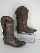 Steve Madden TASSEL Brown Faux Leather Cowgirl Decorative Tassel Side Zip Size 5