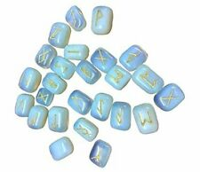 Opalite Rune Stones Tumbled Engraved Lettering Crystal Set of 25 Pieces