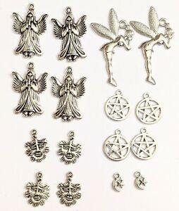 Tibetan silver charms x 10pentacle green man pagan fairy angel dove tree of life