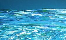 "ANGEL WINGS AT SEA Original Seascape OIL Painting 24""x48"" Julia Garcia Large Art"