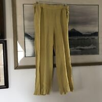 CP Shades Irish Linen Yellow Crop Capri Pull On Pants Sz M A1921