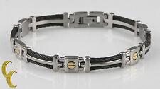inoxydable maillons en acier & Câble bracelet w/ plaqué or vis cadeau pour lui