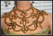 JEWELRY BARBIE DOLL RARE TREASURE EXOTIC BEAUTY FAUX METAL GOLD ORNATE NECKLACE