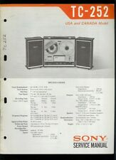 Original Factory Sony TC-252 Reel to Reel Tape Deck Service Guide Manual