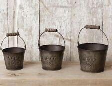 """Country Primitive Set 3 """"vintage 1843"""" Tin 3 Piece Set of Buckets/Pails"""