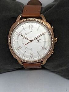 Fossil FTW1108 Womens Brown Leather Analog Dial Genuine Hybrid Smart Watch QB135