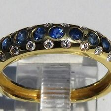 Classic Natural Blue Round Sapphire & Diamond ring 18K solid gold us size 6.5