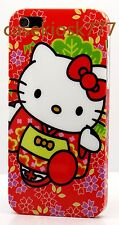 for iPhone 5 5S hello kitty case red green white with cute dress protector film
