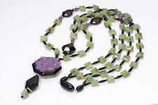 ANGELA CAPUTI Long Faux Jade Onyx Resin Carved Rose Multi Strand Necklace