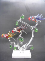 Large Vintage Parrots Birds Mid Century Murano Glass Sculpture Parrots In Tree