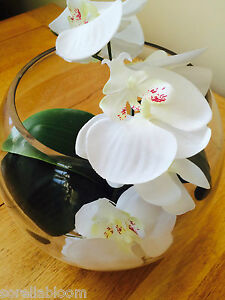STUNNING ARTIFICIAL FLOWER ARRANGEMENT IVORY ORCHID & LEAVES IN GLASS FISH BOWL