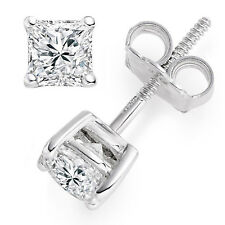 1 Ct Princess Cut Solitaire Stud Earrings 14k Solid White Gold Screw