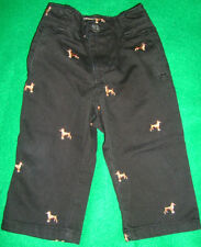 EST/1989/PLACE~boys~BLACK/EMBROIDERED/DOGS/PANTS! (12/18~MO) NEW! @@  Free/Ship!