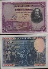 Lote de 10 billetes de 50 Pesetas 1928 Velázquez. Series B.C.D.E.