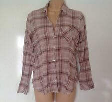 M&S PINK CHECK WESTERN STYLE LONG SLEEVED TOP BLOUSE SHIRT SIZE 12 EX CONDITION