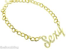 Hot Urban Hip Hop Fashion Gold Chain Necklace & Crystal Bling SEXY Pendant