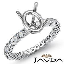 Shared Prong Setting Diamond Wedding Ring Platinum 950 Oval Semi Mount 0.9Ct